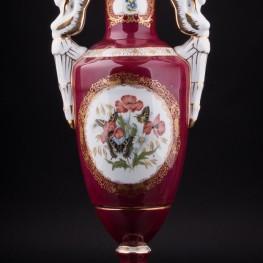 Фарфоровая Ваза Красная ваза Бабочки, Франция, сер. 20 в.