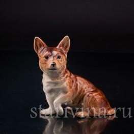 Статуэтка собаки из фарфора Вельш корги, Cortendorf, Германия, до 1973 г.
