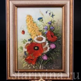 """Картина на фарфоре """"Полевые цветы"""" сер. 20 в"""
