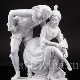 Фарфорвая статуэтка пары Арлекин с дамой, Volkstedt, Германия, после 1935 г.