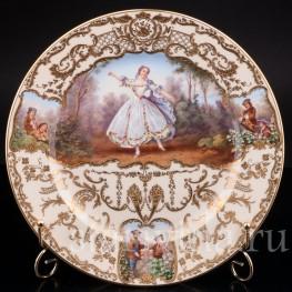 Фарфоровая декоративная тарелка Танцовщица Камарго, Wilhelm Koch, Германия, 1928 - 1949 гг.