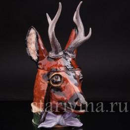 Антикварная фигурная кружка из фарфора Голова оленя, Von Schierholz, Германия, нач. 20 в.