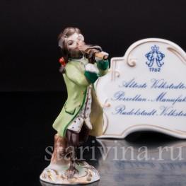 Фарфоровая статуэтка Обезьяний оркестр, флейтист, Volkstedt, Германия, вт. пол. 20 в.