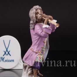 Фарфоровая статуэтка Обезьяна с флейтой, Meissen, Германия, сер. 19 - нач. 20 вв.