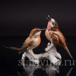 Статуэтка птиц из фарфора Две малиновки, Karl Ens, Германия, пер. пол. 20 в.
