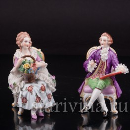Фарфоровые статуэтки Пара на креслах, кружевная, миниатюра, Muller & Co, Германия, перв. пол 20 в.