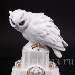 Фигурка птицы из фарфора Ушаста сова, Hertwig & Co, Katzhutte, Германия, нач. 20 в.