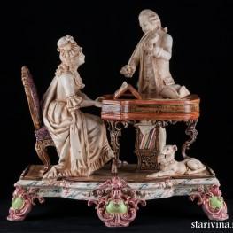Пара, музицирующая на клавесине и скрипке, Германия,